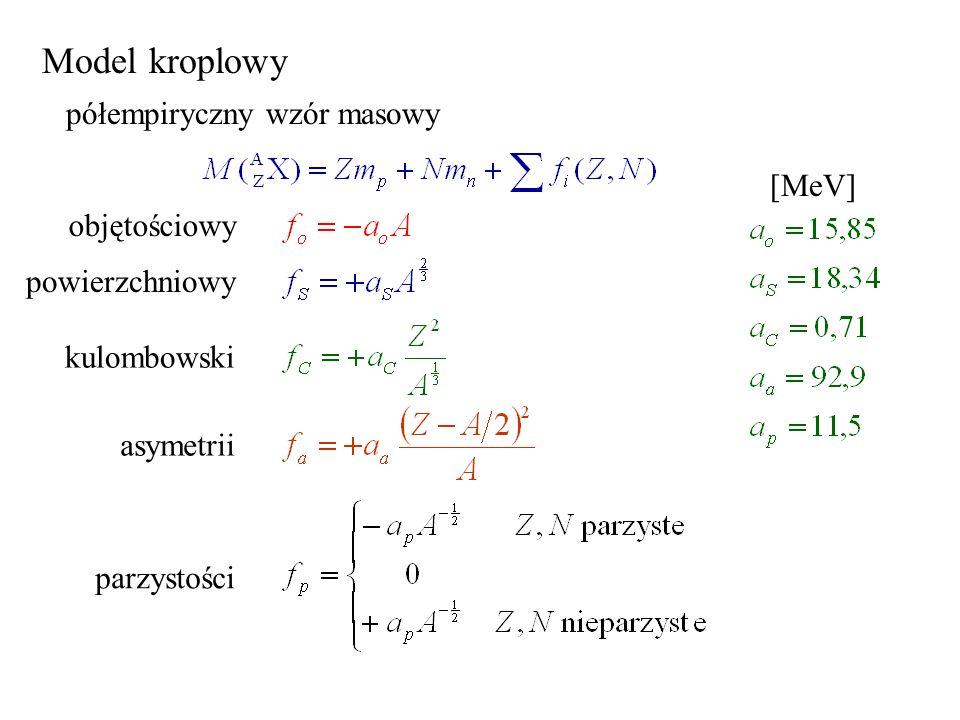 Model kroplowy półempiryczny wzór masowy [MeV] objętościowy